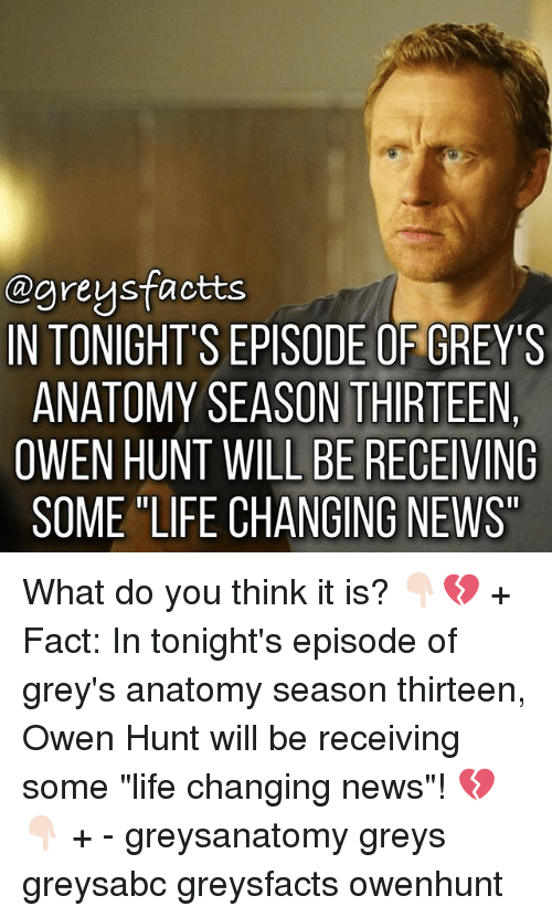 """Life, Memes, and News: agreysfactts  INTONIGHT'S EPISODE OF GREY'S  ANATOMY SEASON THIRTEEN  OWEN HUNT WILL BE RECEIVING  SOME """"LIFE CHANGING NEWS What do you think it is? 👇🏻💔 + Fact: In tonight's episode of grey's anatomy season thirteen, Owen Hunt will be receiving some """"life changing news""""! 💔👇🏻 + - greysanatomy greys greysabc greysfacts owenhunt"""