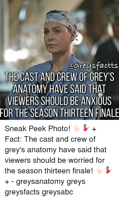 Memes, Grey's Anatomy, and 🤖: agreysfactts  THE CAST AND CREW OF GREY'S  ANATOMY HAVE SAID THAT  VIEWERS SHOULD BE ANXIOUS  FOR THE SEASONTHIRTEEN FINALE Sneak Peek Photo! 👆🏻💃🏻 + Fact: The cast and crew of grey's anatomy have said that viewers should be worried for the season thirteen finale! 👆🏻💃🏻 + - greysanatomy greys greysfacts greysabc