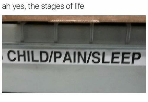 Life, Nihilist, and Pain: ah yes, the stages of life  CHILD/PAIN/SLEEP