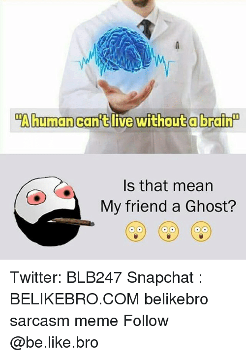 "Be Like, Meme, and Memes: ""Ahumancanft live without a brain  Is that mean  My friend a Ghost? Twitter: BLB247 Snapchat : BELIKEBRO.COM belikebro sarcasm meme Follow @be.like.bro"