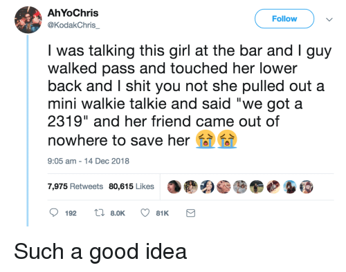 """Shit, Girl, and Good: AhYoChris  @KodakChris  Follow  was talking this girl at the bar and Iguy  walked pass and touched her lower  back and I shit you not she pulled out a  mini walkie talkie and said """"we got a  2319"""" and her friend came out of  nowhere to save her  9:05 am-14 Dec 2018  7,975 Retweets 80,615 Likes Such a good idea"""