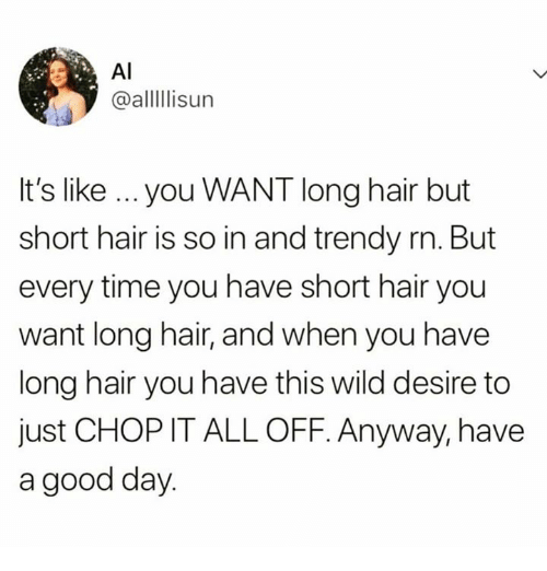 Relationships, Good, and Hair: AI  @alllisur  It's like ...you WANT long hair but  short hair is so in and trendy rn. But  every time you have short hair you  want long hair, and when you have  long hair you have this wild desire to  just CHOP IT ALL OFF. Anyway, have  a good day