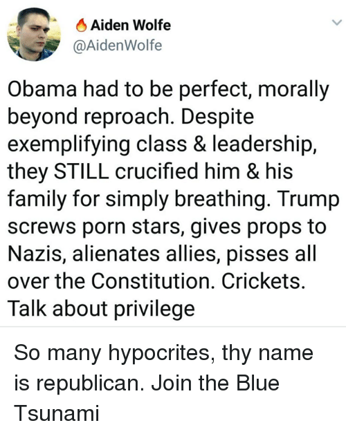 Family, Memes, and Obama: Aiden Wolfe  @AidenWolfe  Obama had to be perfect, morally  beyond reproach. Despite  exemplifying class & leadership,  they STILL crucified him & his  family for simply breathing. Trump  screws porn stars, gives props to  Nazis, alienates allies, pisses all  over the Constitution. Crickets  Talk about privilege So many hypocrites, thy name is republican. Join the Blue Tsunami