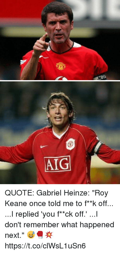 Aig Quote Custom Aig Quote Gabriel Heinze Roy Keane Once Told Me To F**k Off I