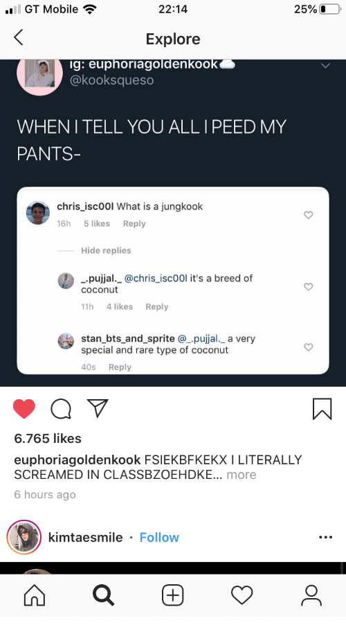 Stan, Mobile, and What Is: ail GT Mobile  25%O  22:14  Explore  ig: euphoriagoldenkook  @kooksqueso  WHENI TELL YOU ALL I PEED MY  PANTS-  chris_isc00l What is a jungkook  5 likes  16h  Reply  Hide replies  pujjal._@chris_isc00l it's a breed of  COconut  4 likes  11h  Reply  stan_bts_and_sprite @pujjal._ a very  special and rare type of coconut  40s  Reply  6.765 likes  euphoriagoldenkook FSIEKBFKEKX I LITERALLY  SCREAMED IN CLASSBZOEHDKE... more  6 hours ago  kimtaesmile - Follow  (+)  ос  (+)