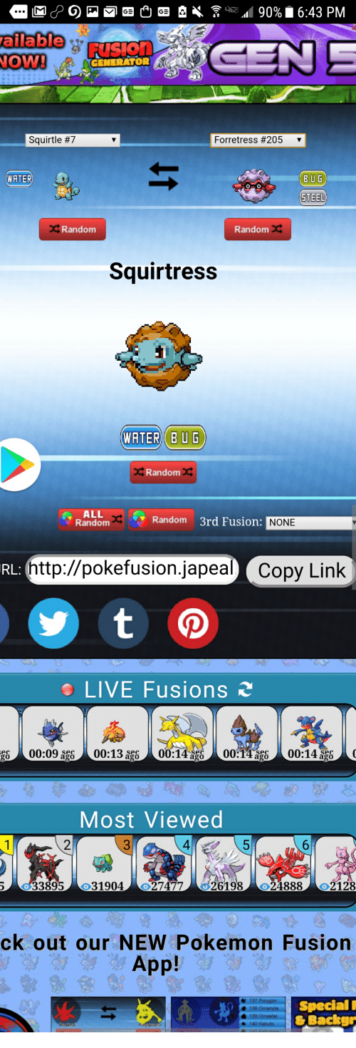 Ailable FusIOn OW! GENERATOR Squirtle #7 Forretress #205