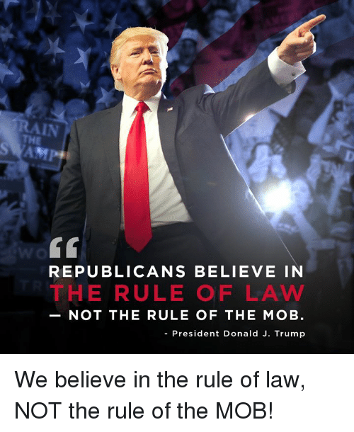 Trump, President, and Law: AIN  THE  SAMP  REPUBLICANS BELIEVE IN  THE RULE OF LAW  NOT THE RULE OF THE MOB  - President Donald J. Trump We believe in the rule of law, NOT the rule of the MOB!