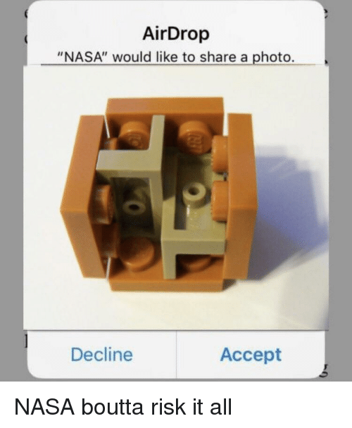 "Nasa, Photo, and Accept: AirDrop  ""NASA"" would like to share a photo.  Decline  Accept"