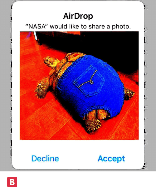 """Nasa, Photo, and Accept: AirDrop  """"NASA"""" would like to share a photo  Decline  Accept"""