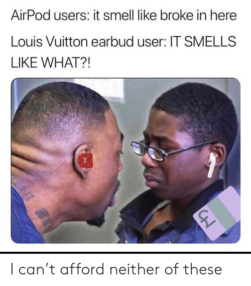 Funny, Smell, and Louis Vuitton: AirPod users: it smell like broke in here  Louis Vuitton earbud user: IT SMELLS  LIKE WHAT?! I can't afford neither of these