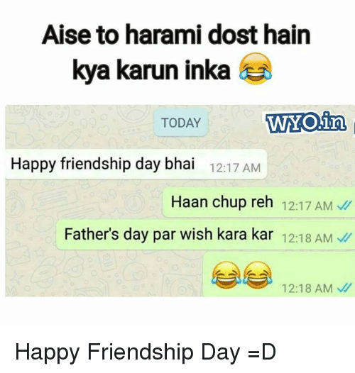 Fathers Day, Memes, and Happy: Aise to harami dost hain  kya karun inka  TODAY WYOin  Happy friendship day bhai 12:17 AM  Haan chup reh 12:17 AM  Father's day par wish kara kar 12:18 AM  12:18 AM Happy Friendship Day =D
