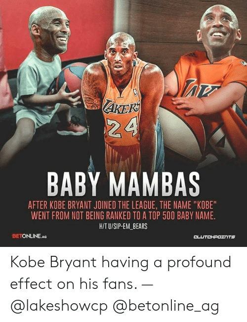 """Kobe Bryant, Bears, and Kobe: AKEK  BABY MAMBAS  AFTER KOBE BRYANT JOINED THE LEAGUE, THE NAME """"KOBE""""  WENT FROM NOT BEING RANKED TO A TOP 500 BABY NAME.  H/T U/SIP-EM_BEARS  BETONLINE.AG Kobe Bryant having a profound effect on his fans. — @lakeshowcp @betonline_ag"""