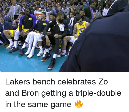 Los Angeles Lakers, Game, and Double: AKERS  ER Lakers bench celebrates Zo and Bron getting a triple-double in the same game 🔥