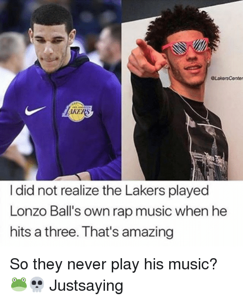 Los Angeles Lakers, Music, and Nba: AKERS  I did not realize the Lakers played  Lonzo Ball's own rap music when he  hits a three. That's amazing So they never play his music? 🐸💀 Justsaying