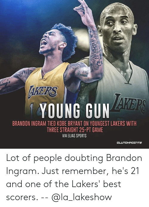 Kobe Bryant, Los Angeles Lakers, and Sports: AKERS  YOUNG GUN  BRANDON INGRAM TIED KOBE BRYANT ON YOUNGEST LAKERS WITH  THREE STRAIGHT 25-PT GAME  VIA ELIAS SPORTS  CL  UTCHPOINTS Lot of people doubting Brandon Ingram. Just remember, he's 21 and one of the Lakers' best scorers. -- @la_lakeshow