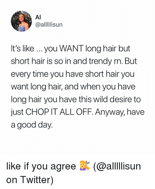 Memes, Twitter, and Good: Al  @alllIlisun  It's like ...you WANT long hair but  short hair is so in and trendy rn. But  every time you have short hair you  want long hair, and when you have  long hair you have this wild desire to  just CHOP IT ALL OFF. Anyway, have  a good day like if you agree 💇‍♀️ (@alllllisun on Twitter)