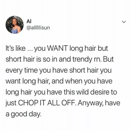 Good, Hair, and Time: Al  @alllisur  It's like you WANT long hair but  short hair is so in and trendy rn. But  every time you have short hair you  want long hair, and when you have  long hair you have this wild desire to  just CHOP IT ALL OFF. Anyway, have  a good day