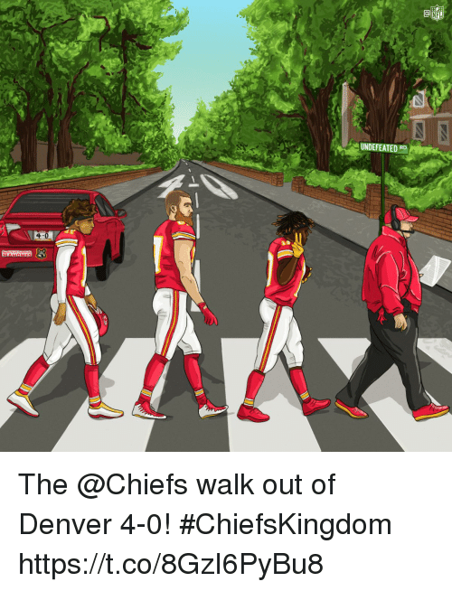 Memes, Nfl, and Chiefs: al  NFL  UNDEFEATED RD  4-0 The @Chiefs walk out of Denver 4-0! #ChiefsKingdom https://t.co/8GzI6PyBu8