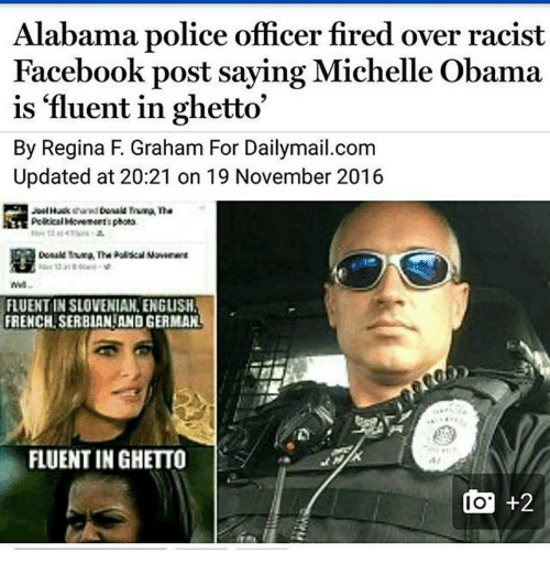 alabama police officer fired over racist facebook post saying michelle 6899374 alabama police officer fired over racist facebook post saying