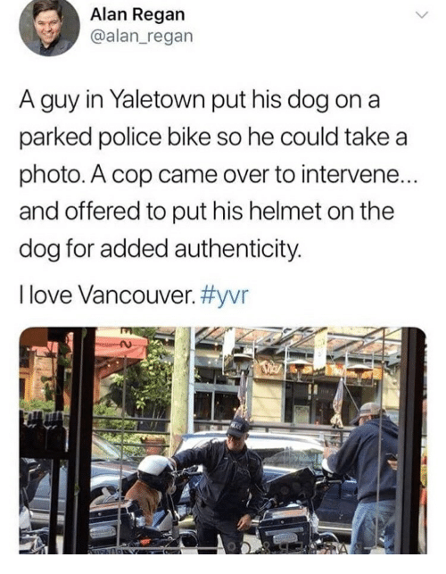 Love, Police, and Vancouver: Alan Regan  @alan_regan  A guy in Yaletown put his dog on a  parked police bike so he could take a  photo. A cop came over to intervene.  and offered to put his helmet on the  dog for added authenticity.  I love Vancouver.