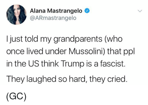 Memes, Trump, and 🤖: Alana Mastrangelo  @ARmastrangelo  I just told my grandparents (who  once lived under Mussolini) that ppl  in the US think Trump is a fascist.  They laughed so hard, they cried. (GC)