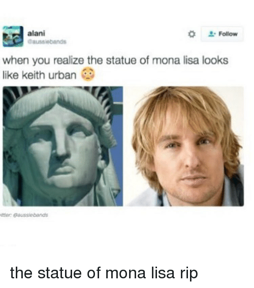 Memes, Mona Lisa, and Urban: alani  Follow  aaussiebands  when you realize the statue of mona lisa looks  like keith urban  itter gaussiebands the statue of mona lisa rip