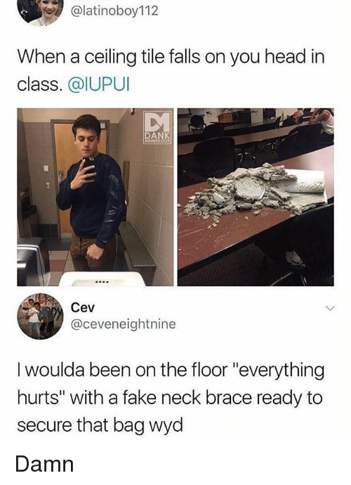 """Fake, Head, and Memes: alatinoboy112  When a ceiling tile falls on you head in  class. @IUPUI  DA  Cev  @ceveneightnine  I woulda been on the floor """"everything  hurts"""" with a fake neck brace ready to  secure that bag wyd Damn"""