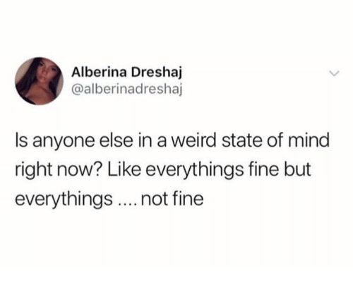 Weird, Mind, and Mind Right: Alberina Dreshaj  @alberinadreshaj  Is anyone else in a weird state of mind  right now? Like everythings fine but  everythings.not fine