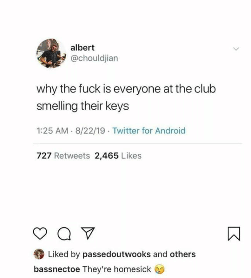 Android, Club, and Twitter: albert  @chouldjian  why the fuck is everyone at the club  smelling their keys  1:25 AM 8/22/19 Twitter for Android  727 Retweets 2,465 Likes  Q  Liked by passedoutwooks and others  bassnectoe They're homesick