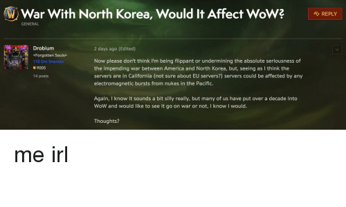 ALD W Ar With North Korea Would It Affect Wo W? 、REPL GENERAL