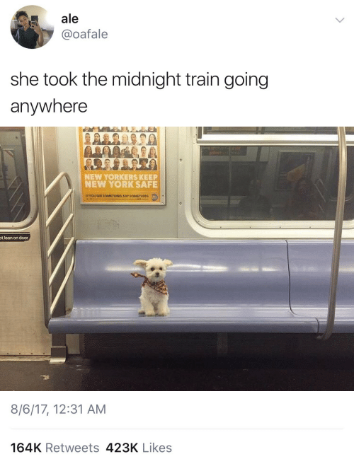 Lean, New York, and Train: ale  @oafale  she took the midnight train going  anywhere   NEW YORKERS KEEP  NEW YORK SAFE  t lean on door   8/6/17, 12:31 AM  164K Retweets 423K Likes