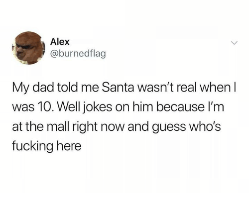 Dad, Fucking, and Memes: Alex  @burnedflag  My dad told me Santa wasn't real when I  was 10. Well jokes on him because I'm  at the mall right now and guess who's  fucking here