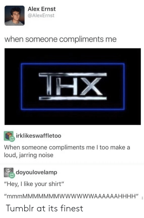 "Tumblr, Make A, and Alex: Alex Ernst  @AlexErnst  when someone compliments me  irklikeswaffletoo  When someone compliments me I too make a  loud, jarring noise  doyoulovelamp  ""Hey, I like your shirt"" Tumblr at its finest"