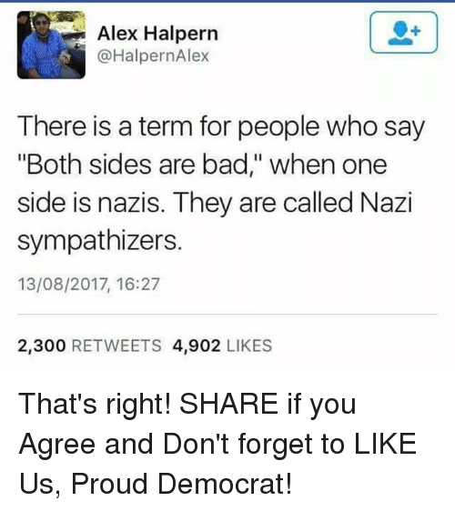 "Bad, Proud, and Nazi: Alex Halpern  @HalpernAlex  There is a term for people who say  ""Both sides are bad,"" when one  side is nazis. They are called Nazi  sympathizers.  13/08/2017, 16:27  2,300 RETWEETS 4,902 LIKES That's right!  SHARE if you Agree and Don't forget to LIKE Us, Proud Democrat!"