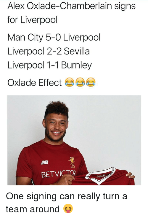 Memes, Liverpool F.C., and 🤖: Alex Oxlade-Chamberlain signs  for Liverpool  Man City 5-0 Liverpool  Liverpool 2-2 Sevilla  Liverpool 1-1 Burnley  Oxlade Effect岁岁  LFC  BETVICTOR One signing can really turn a team around 😝