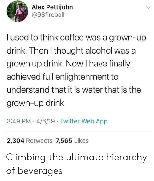 Climbing, Twitter, and Alcohol: Alex Pettijohn  @98fireball  l used to think coffee was a grown-up  drink. Then I thought alcohol was a  grown up drink. Now I have finally  achieved full enlightenment to  understand that it is water that is the  grown-up drink  3:49 PM 4/6/19 Twitter Web App  2,304 Retweets 7,565 Likes Climbing the ultimate hierarchy of beverages