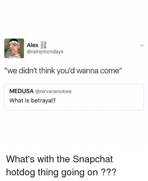 "Snapchat, What Is, and Girl Memes: Alex  @rainymondays  ""we didn't think you'd wanna come""  MEDUSA @nirvananokwe  What is betrayal? What's with the Snapchat hotdog thing going on ???"