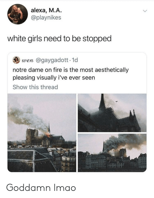Fire, Girls, and Lmao: alexa, M.A.  @playnikes  white girls need to be stopped  wen @gaygadott.1d  notre dame on fire is the most aesthetically  pleasing visually i've ever seen  Show this thread Goddamn lmao
