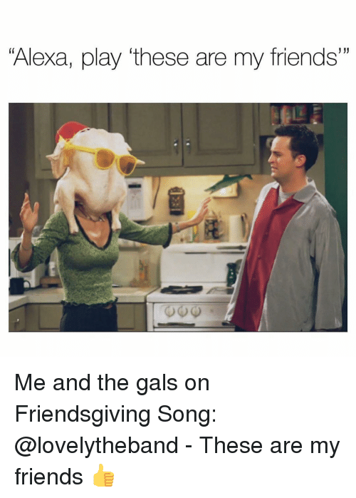 """Friends, Girl Memes, and Song: """"Alexa, play """"these are my friends"""" Me and the gals on Friendsgiving Song: @lovelytheband - These are my friends 👍"""