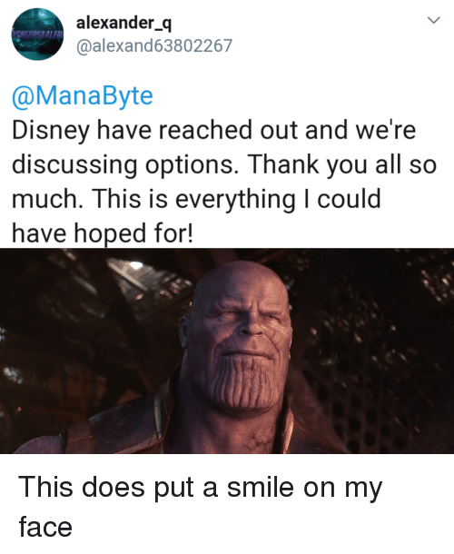 Disney, Marvel Comics, and Thank You: alexander_q  @alexand63802267  NGERSAALE  @ManaByte  Disney have reached out and we're  discussing options. Thank you all so  much. This is everything I coulod  have hoped for!