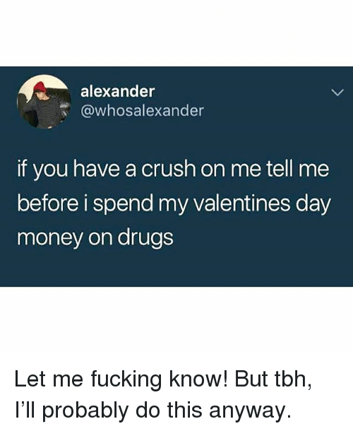Crush, Drugs, and Fucking: alexander  @whosalexander  if you have a crush on me tell me  before i spend my valentines day  money on drugs Let me fucking know! But tbh, I'll probably do this anyway.
