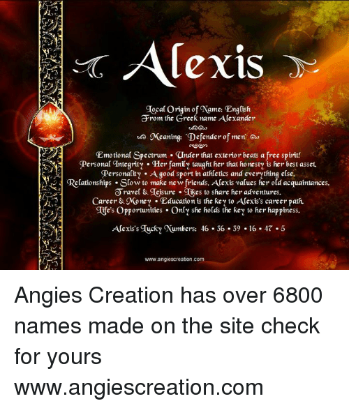 Alexis Ocal Origin of Name English Rom the Greek Name Alexander