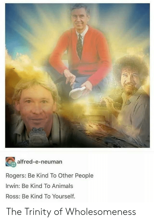 Animals, Ross, and Trinity: alfred-e-neuman  Rogers: Be Kind To Other People  Irwin: Be Kind To Animals  Ross: Be Kind To Yourself. The Trinity of Wholesomeness