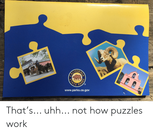 Ali, Work, and How: ALI  ORN  SINCE 1864  www.parks.ca.gov  STAT  PARKS That's... uhh... not how puzzles work