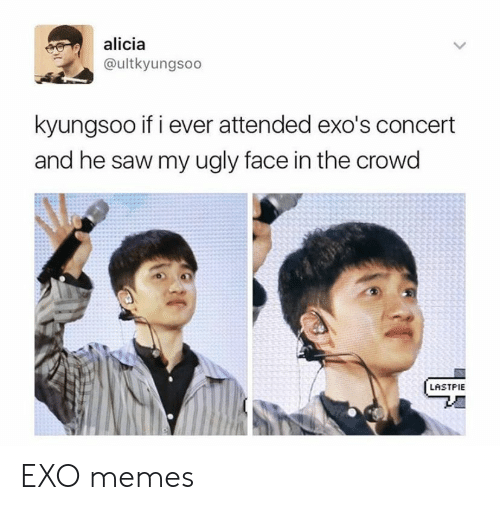 Memes, Saw, and Ugly: alicia  @ultkyungsoo  kyungsoo if i ever attended exo's concert  and he saw my ugly face in the crowd  LASTPIE EXO memes