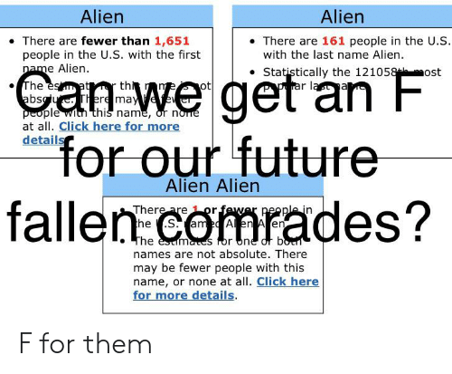Click, Future, and Alien: Alien  Alien  There are fewer than 1,651  people in the U.S. with the first  name Alien.  There are 161 people in the U.S.  with the last name Alien  Statistically the 121058 ost  prar last  The esat r th  absgue. There maye  people wich this name, or norre  at all. Click here for more  details  for our future  fallen comrades?  Alien Alien  There are 1 or fewer people in  the S. ame A en A en  The esmaes for one or botn  names are not absolute. There  may be fewer people with this  name, or none at all. Click here  for more details F for them