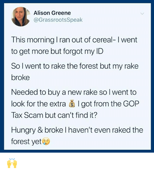 Hungry, The Forest, and Got: Alison Greene  @GrassrootsSpeak  This morning I ran out of cereal-I went  to get more but forgot my ID  Sol went to rake the forest but my rake  broke  Needed to buy a new rake so I went to  look for the extra š I got from the GOP  Tax Scam but can't find it?  Hungry & broke l haven't even raked the  forest yet& 🙌