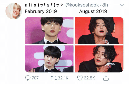 August, February, and Alix: alix (G @kooksoshook 8h  February 2019  August 2019  707  L32.1K  62.5K