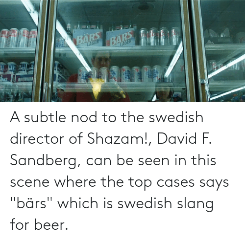 "Beer, Shazam, and Swedish: ALKEE  AUKE  BARS  BÄRS  TAGER  LAGER  LD  UKEE A subtle nod to the swedish director of Shazam!, David F. Sandberg, can be seen in this scene where the top cases says ""bärs"" which is swedish slang for beer."