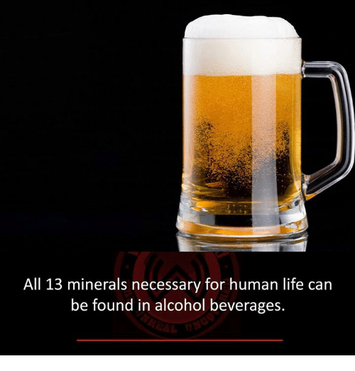 Life, Memes, and Alcohol: All 13 minerals necessary for human life can be